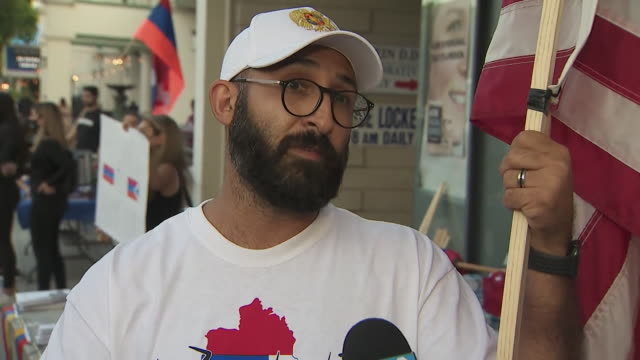 sherman oaks, ca, u.s. - man talking to media during armenian community protest against violence in nagorno-karabakh in solidarity with artsakh, on... - eastern european culture stock videos & royalty-free footage