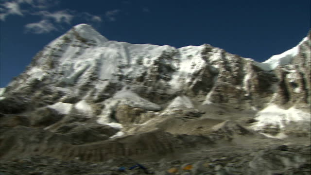 sherpa guides call strike over pay and insurance following mount everest avalanche deaths; file: date unknown: nepal: himalayas: ext various shots... - base camp stock videos & royalty-free footage