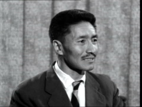 sherpa tenzing norgay interview; england: london: lap : int sherpa tenzing norgay interview sof - tenzing norgay stock videos & royalty-free footage