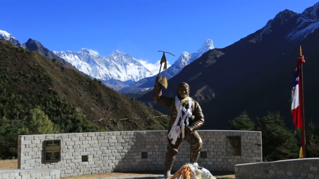 sherpa tenzing norgay memorial stupa, namche bazar village, sagarmatha national park, himalayan mountains, nepal - tenzing norgay stock videos & royalty-free footage