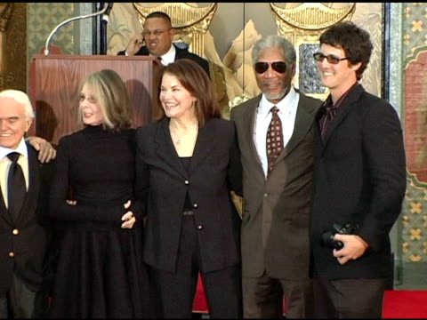 Sherry's husband Jack Valenti Diane Keaton Sherry Lansing Morgan Freeman and Sherry's son at the Sherry Lansing Hand and Footprint Ceremony at...