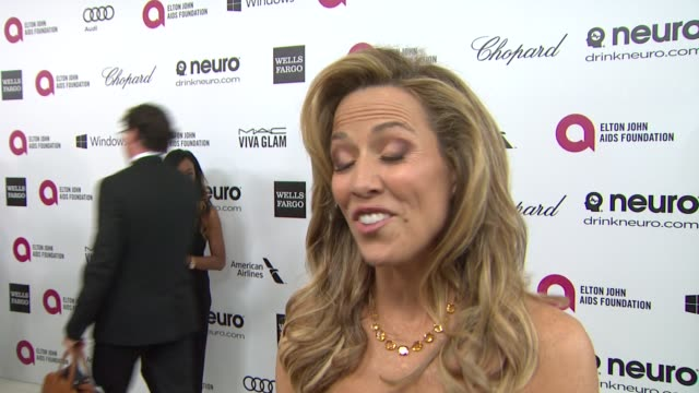 interview sheryl crow at elton john aids foundation presents 22nd annual academy awards viewing party sponsored by chopard neuro drinks and wells... - sheryl crow stock videos & royalty-free footage
