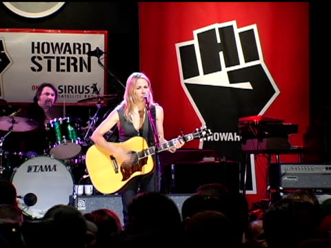 sheryl crow at the howard stern last day live event arrivals and inside at hard rock cafe in new york new york on december 16 2005 - sheryl crow stock videos and b-roll footage