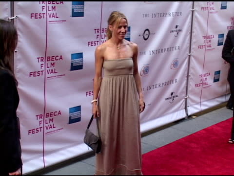 sheryl crow at the 'the interpreter' new york premiere at the ziegfeld theatre in new york new york on april 19 2005 - sheryl crow stock videos and b-roll footage