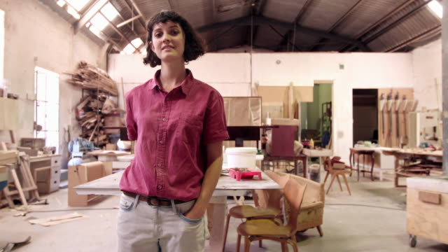 she's a skilled furniture designer - carpenter stock videos & royalty-free footage