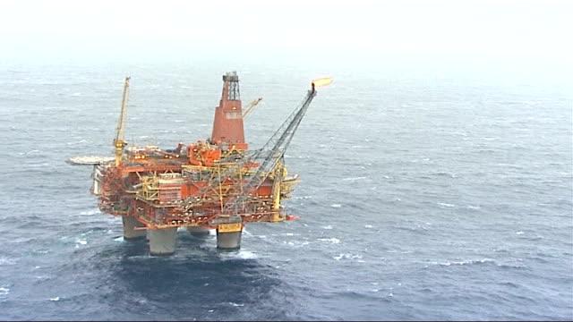 shetland helicopter crash to be 'painstakingly investigated'; r07110608 / norway: north sea: statfjord b oil platform: air view north sea with oil... - norway stock videos & royalty-free footage