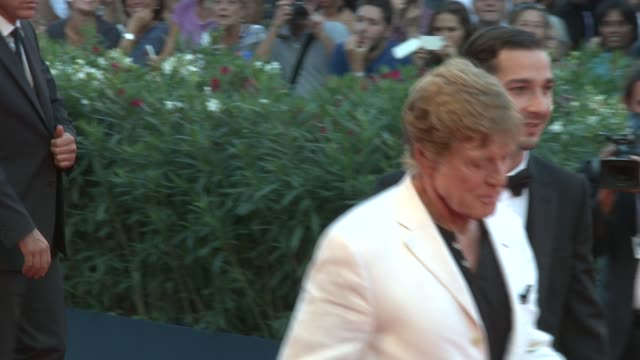 shia labeouf and robert redford at 'the company you keep' premiere: 69th venice film festival in venice, italy, on 09/06/12 - shia labeouf stock videos & royalty-free footage