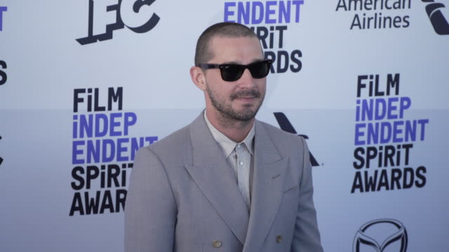 shia labeouf at the 2020 film independent spirit awards on february 08 2020 in santa monica california - film independent spirit awards stock videos & royalty-free footage