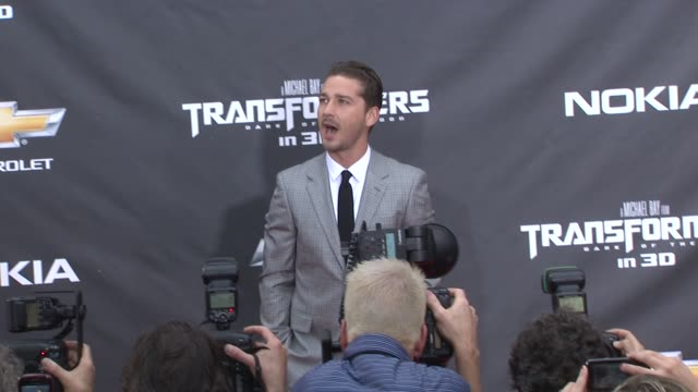 shia labeouf at the 'transformers dark side of the moon' new york premiere at new york ny - transformer stock videos & royalty-free footage