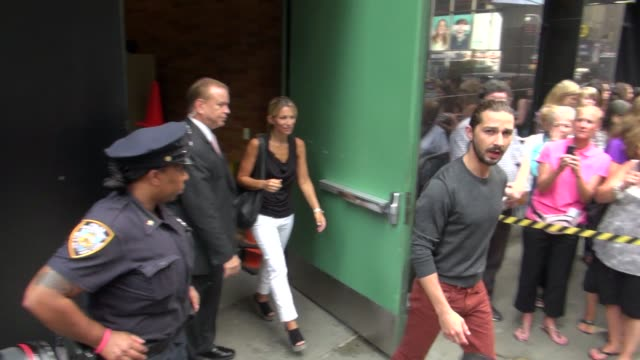 shia labeouf exits good morning america in new york, 08/01/12 - shia labeouf stock videos & royalty-free footage
