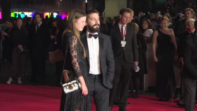 shia labeouf, mia goth at 'fury' closing gala at odeon leicester square on october 19, 2014 in london, england. - shia labeouf stock videos & royalty-free footage