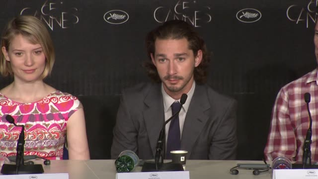 Shia LaBeouf on his short film screened at Cannes the fight scenes at Lawless Press Conference 65th Cannes Film Festival at Palais des Festivals on...