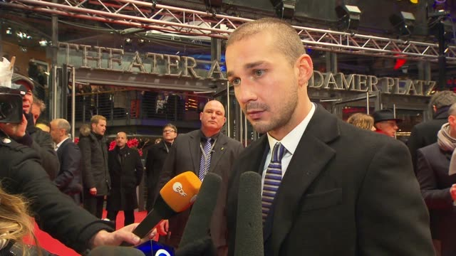 stockvideo's en b-roll-footage met interview shia labeouf on the movie and being in berlin 'the necessary death of charlie countryman' premiere bmw at the 63rd berlinale international... - internationaal filmfestival van berlijn