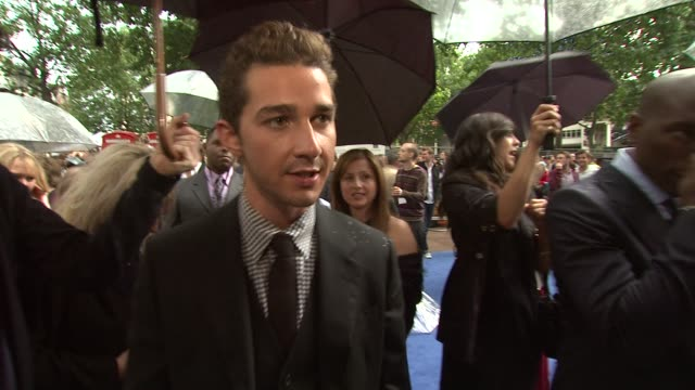 shia labeouf on the premiere, on the reception he's received at the transformers: revenge of the fallen uk premiere at london england. - shia labeouf stock videos & royalty-free footage
