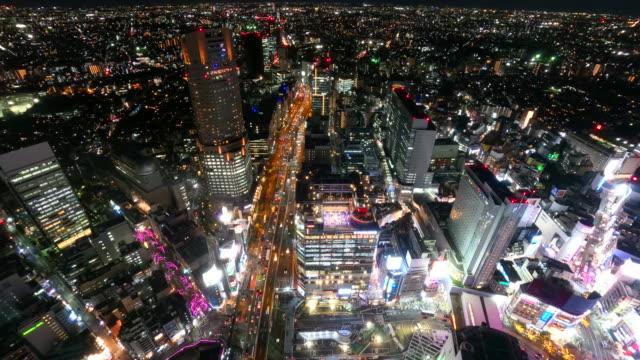 夜の渋谷街の景観 - ネオンサイン点の映像素材/bロール