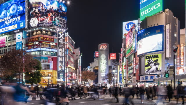 t/l ws pan shibuya crossing at night / tokyo, japan - figura maschile video stock e b–roll
