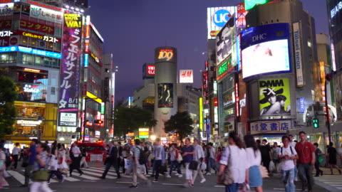 shibuya crossing at night - shibuya ward stock videos & royalty-free footage