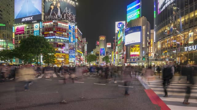 vídeos de stock, filmes e b-roll de cruzamento de shibuya à noite - sinais de cruzamento