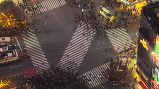shibuya crossing at night | zoom out - shibuya crossing stock videos & royalty-free footage