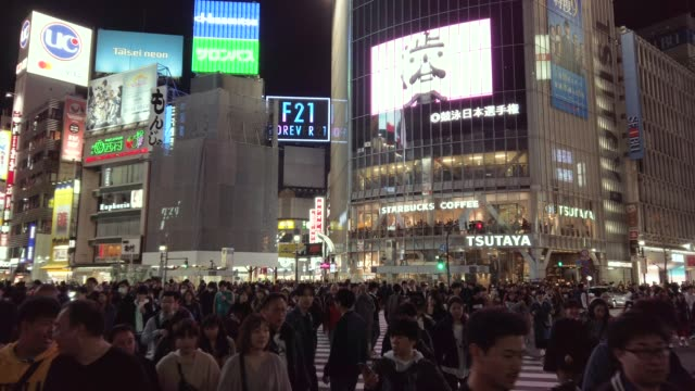 4k ws shibuya crossing at tokyo, japan - commercial sign stock videos & royalty-free footage