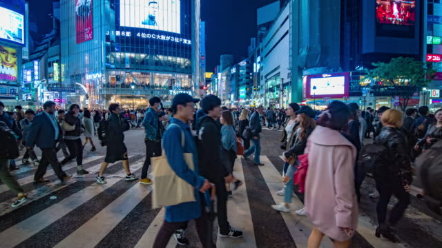 shibuya crossing at tokyo - calligraphy stock videos & royalty-free footage