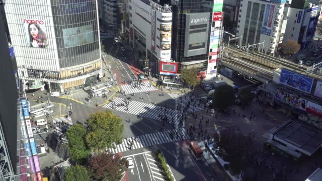shibuya crossing day time - shibuya ward stock videos & royalty-free footage