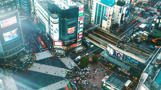 shibuya crossing day to night time lapse - fast motion stock videos & royalty-free footage