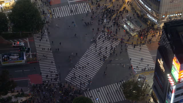 shibuya crossing from the above (time lapse/zoom in) - only japanese stock videos & royalty-free footage