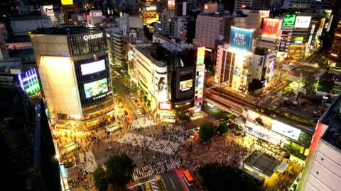 shibuya crossing from top in tokyo - shibuya ward stock videos & royalty-free footage