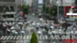 Shibuya crossing in rainy day blur mode