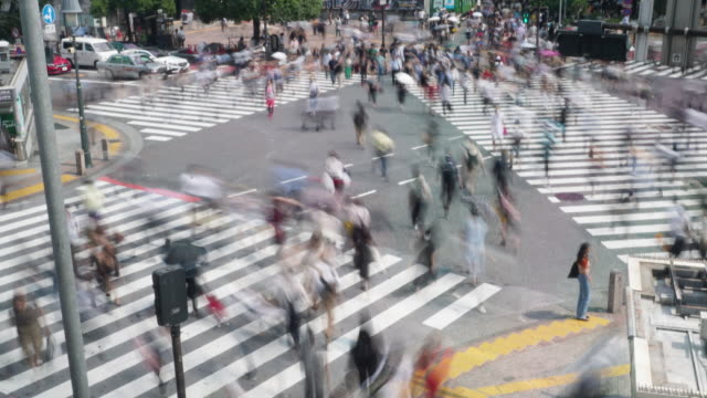 shibuya crossing in rush hour during day light - 人口爆発点の映像素材/bロール