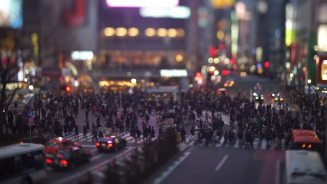 shibuya crossing in the evening (tilt-shift) - tilt shift stock videos and b-roll footage