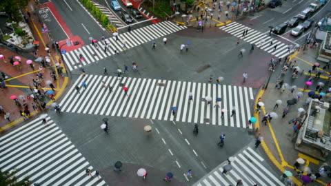 shibuya crossing in the rain - shibuya crossing stock videos & royalty-free footage