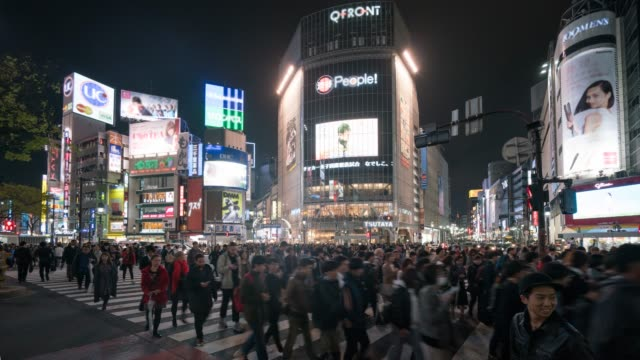 Shibuya crossing in Tokyo at Night time lapse