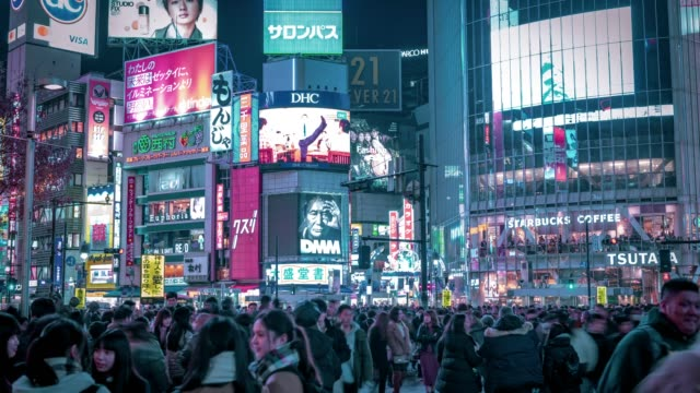 shibuya crossing in tokyo time lapse - road signal stock videos & royalty-free footage