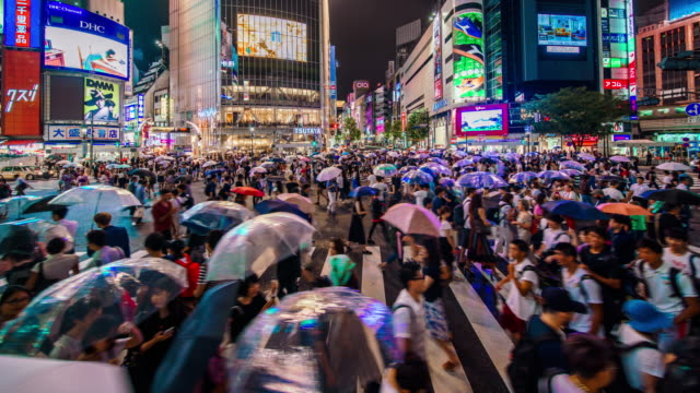 shibuya crossing in tokyo time lapse - japan stock videos & royalty-free footage