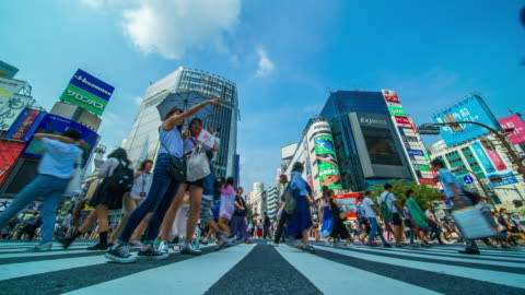 shibuya crossing in tokyo time lapse - shibuya crossing stock videos & royalty-free footage