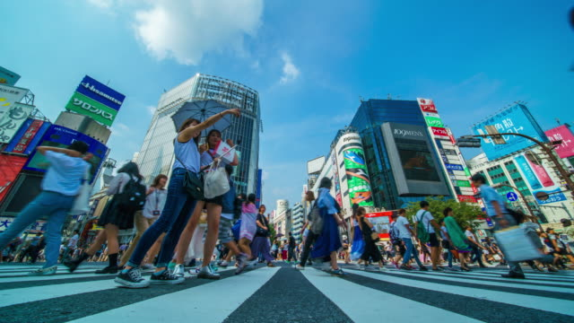 shibuya crossing in tokyo time lapse - shibuya crossing stock videos & royalty-free footage