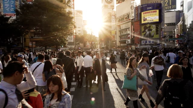 shibuya crossing intersection crowd slow motion tokyo japan. - japanese school uniform stock videos & royalty-free footage