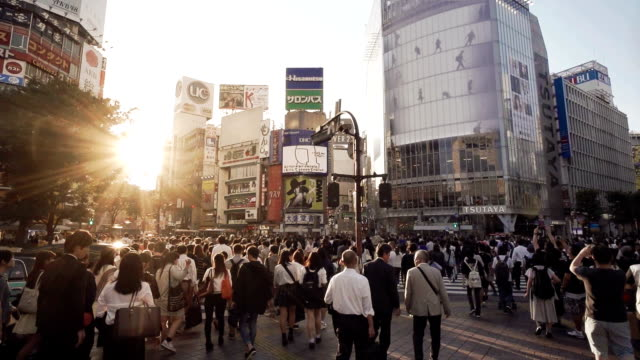 shibuya crossing intersection crowd slow motion tokyo japan. - ora di punta video stock e b–roll