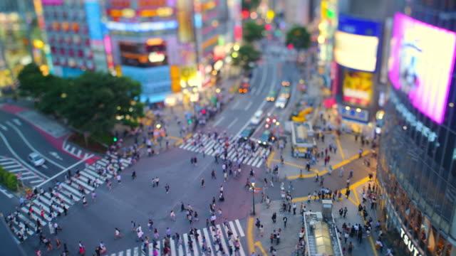 shibuya crossing miniature (tilt shift) - jp201806 stock videos and b-roll footage