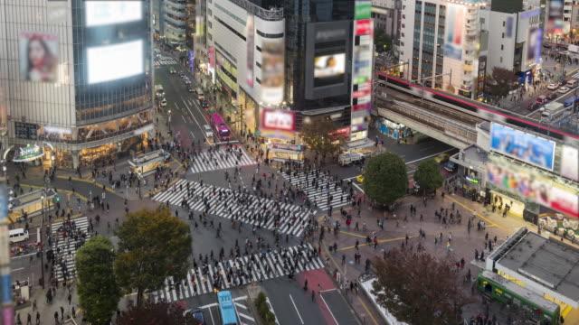Shibuya kruising nacht time-lapse