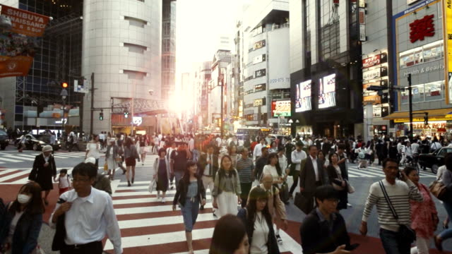 shibuya crossing slow motion - vita cittadina video stock e b–roll