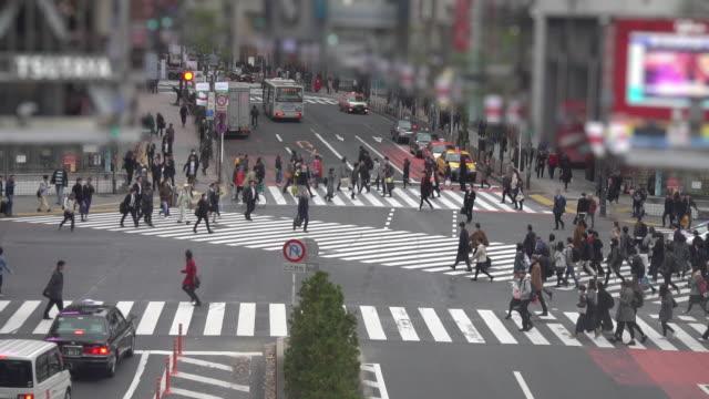 shibuya crossing -slow motion - pedestrian stock videos & royalty-free footage