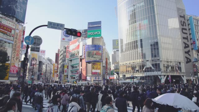 shibuya crossing square - road junction video stock e b–roll