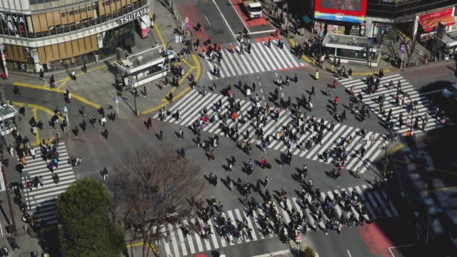 shibuya crossing square - crossroad stock videos & royalty-free footage