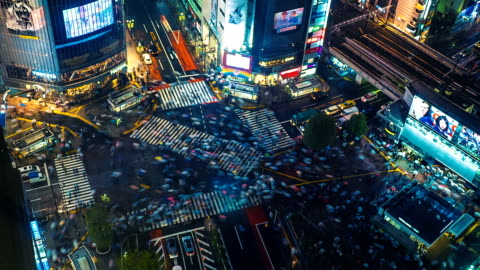 shibuya crossing time lapse - fast motion stock videos & royalty-free footage