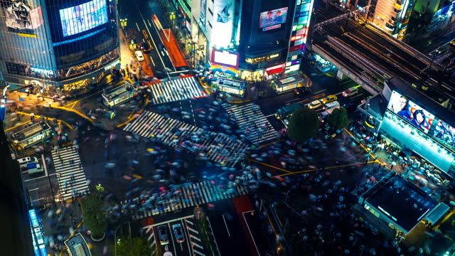 shibuya crossing time lapse - ora di punta video stock e b–roll
