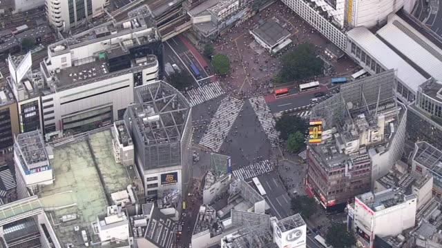 aerial, shibuya crossing, tokyo, japan - shibuya station stock videos and b-roll footage