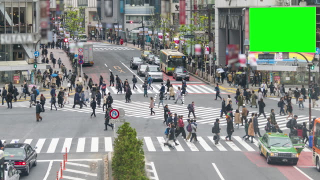 shibuya crossing with green screen time lapse - high speed photography stock videos & royalty-free footage